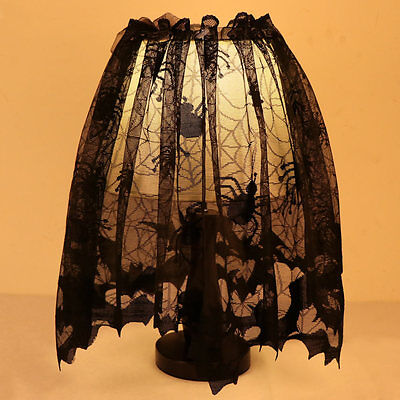 Halloween Black Lace Spider Web Topper Lamp Shades Fireplace Mantle Scarf Cover