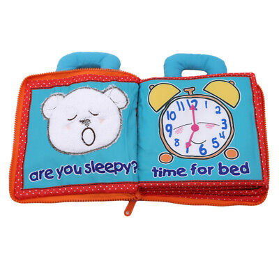 Educational Soft Baby Quiet Cloth Book Rattles Early Learning Kids Bear Cloth ST