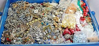 175 piece, 8 Pound Lot of Vintage & Antique Mostly Rhinestone Jewelry Repairs
