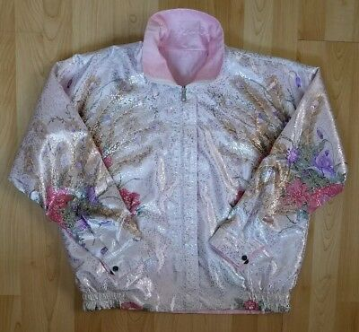 Women's Candy Nelson Jacket Floral Pink Ladies Reversible Costume 0s Vintage