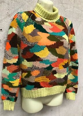 Crazy Womens Vintage Hand Knitted Patch Work Wool High Neck Jumper