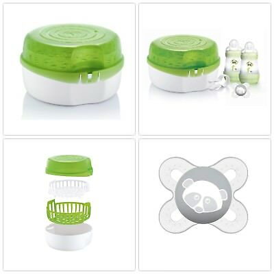 Microwave Steam Cold Water Steriliser Holds 6 Bottles Includes Soother Teats