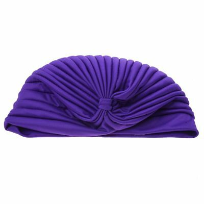 Polyester Pleated Turban Hat Head Wrap Headwrap Cap Twist Hat(Purple) L1Y9