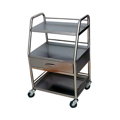 Silver Clinic Serving Medical Dental Cart Three Layers & One Drawer Durable PGS