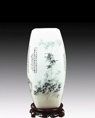 4 Faces Hand Painted Chinese Vase Bamboo Orchids Plum Flowers Chrysanthemum