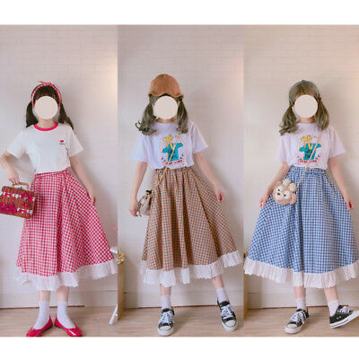 Vintage Lolita Country Style Small Fresh High Waist Plaid Bust skirt Harajuku #