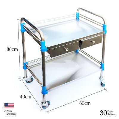 Medical Lab Dental Cart Trolley Two Layers With 2 Drawer Portable 60*40*86cm BSP