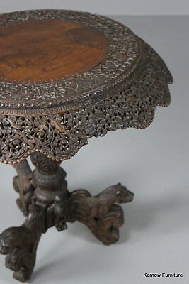 Anglo Indian Teak Carved Occasional Side Lamp Centre Table