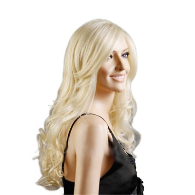 Discoball High Quality Womens Light Blonde Fashion Natural Full Curl Wig Cosplay