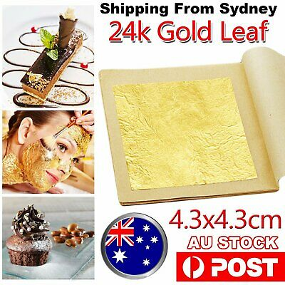 10-100X Pure 24k Gold Leaf Sheet Book Food Edible Decorating Art Craft 4.3*4.3cm