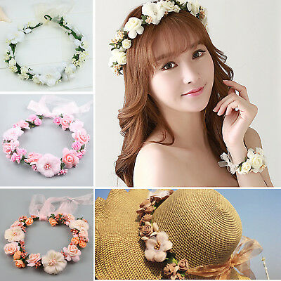 Boho Garland Large Flower Crown Floral Women Hairband Headband Party Wedding