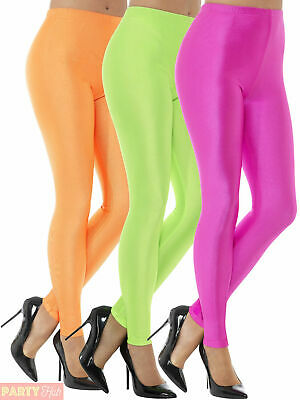 Ladies 80s Disco Spandex Leggings Womens Adults Neon Groovy Fancy Dress Costume