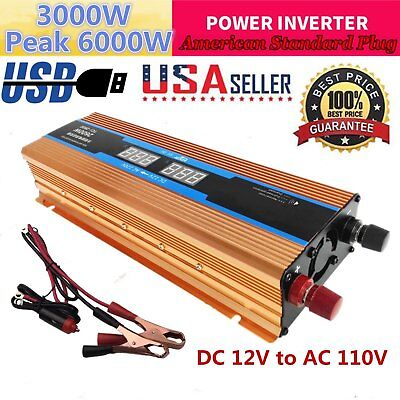 6000W Peak DC 12V to AC 110V Car LED Power Inverter Converter USB Output Charger