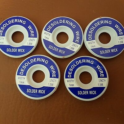 5 x 1mm Desoldering Braid Wire Wick Solder Sucker Remover Copper 1.5M Soldering