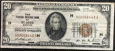 Series 1929 $20 Federal Reserve Bank of St. Louis $20 National Currency Note