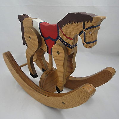 Hand Painted Wood Rocking Horse Jointed Handmade Decorative Folk Art Signed 9x11
