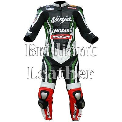 Kawasaki One Piece Motorbike Racing Leather Suit For Men's all Sizes Available