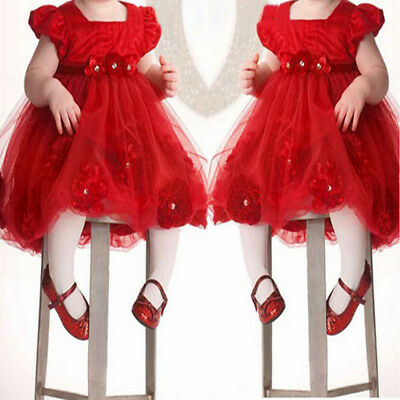 Infant Newborn Baby Girls Short Sleeve Flower Princess Dress Party Pageant Dress
