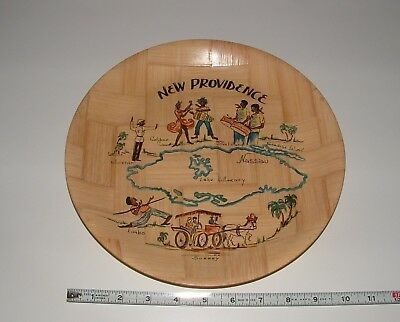 New Providence Bahamas Nassau Souvenir Decor Bamboo Plate, Age Unknown, preowned