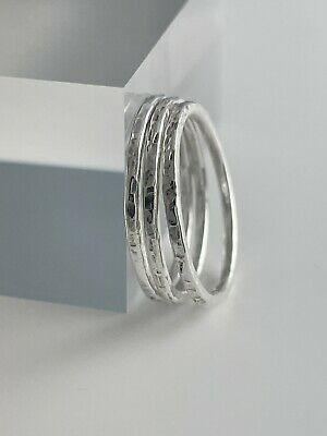 Three 1.5mm Sterling Silver Sparkly Hammered Stacking Rings H-Z Handmade In UK