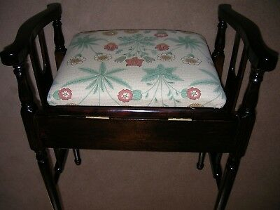 Piano stool arts and craft period with William Morris Fabric