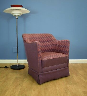 Mid Century Retro Vintage Danish Pink & Purple Wool Lounge Arm Tub Chair 1950s