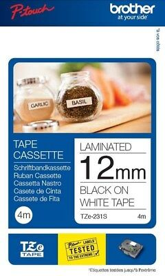 Brother P-touch TZe-231 (12mm x 8m) Black On White Labelling Tape (Twin Pack)