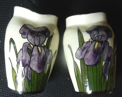 "2 VASES with IRIS design 5.75"" tall"