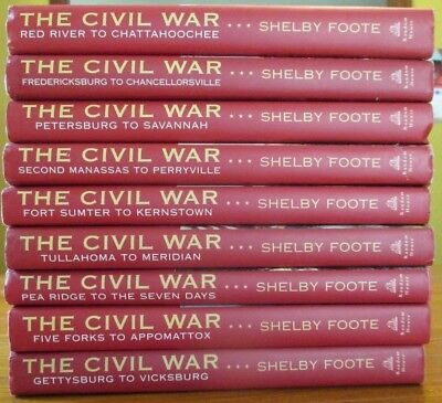 Shelby Foote CIVIL WAR Book Set Complete 9 Vol Vintage History Books Confederate