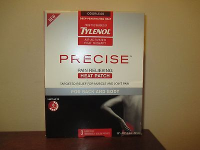 Pack of 3 Tylenol Precise Pain Relieving Heat Patch Back And Body *Collectible