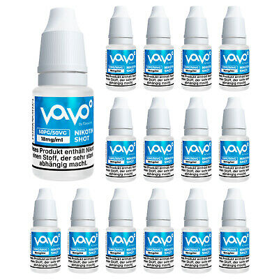 15 x VAVO Nikotin Shot 18mg/ml 10ml (=150ml) 50VG/50PG Base für E-Liquid Aroma