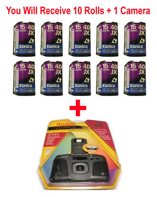 10 Rolls Konica 400 15 APS Film + FREE Kodak Nexia Advantix Camera Flash
