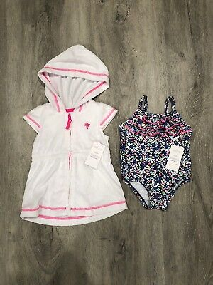 Carter's Baby Girls 12M Bathing Suit And Coverup NWT