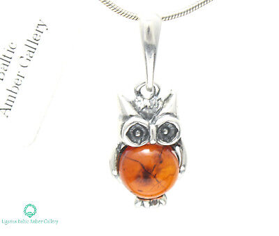 NATURAL BALTIC AMBER STERLING SILVER 925 Owl PENDANT CHAIN NECKLACE Certified