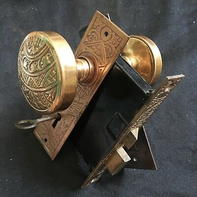 Antique Victorian Brass Corbin Ceylon Eastlake Lockset With Skeleton Working Key