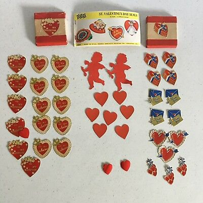 Dennison & Eureka ~ Valentine Stickers ~ Seal ~ Die Cut ~ Lot ~ Vintage ~