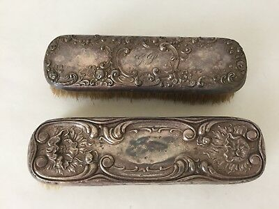 Vintage Antique Lot of 2 Shabby Sterling Silver Clothes Brushes Monogram (S2)