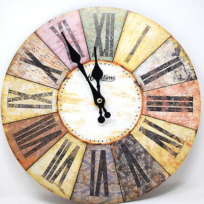 Colourful Multi Coloured Round Roman Style Dial MDF Wall Clock 30cm Kitchen Home