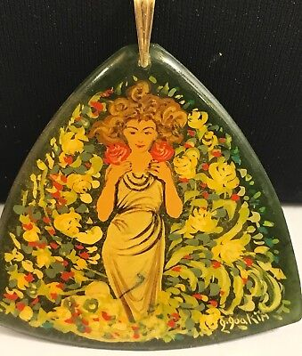 #14k Gold & Jade Miniature Painting FLaurel Woman Necklace JEWEL/AMULET RARE