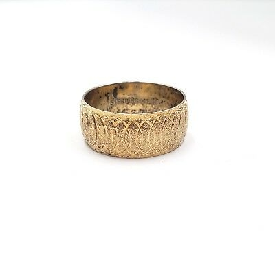 Gold Over Sterling Silver Coil Engraved Band Ring