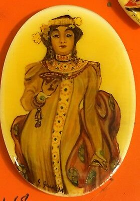 #Magnificent VTG ESTATE Miniature Painting Of Turkish Princess Necklace