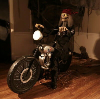 animated life size skeleton riding his motorcycle lights & sound halloween  fog