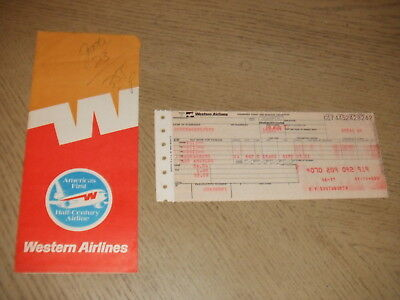 VINTAGE 1977 Western Airlines Passenger Ticket + Folder SAC - LAX Baggage Check