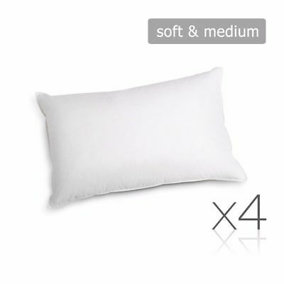 Set of 4 Family Pack Bed Pillows Soft Medium Cotton Cover 48X73CM #HT