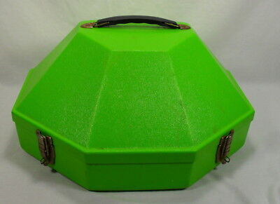 Green Plastic Adjustable Hat Box Travel Carry Case Hinged with Mirror