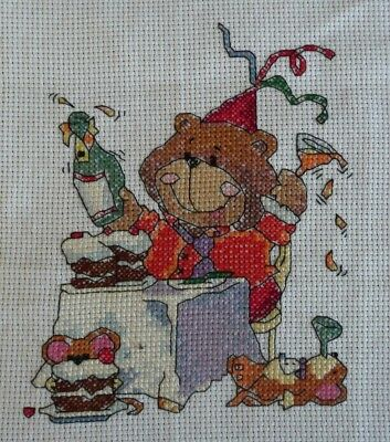 Party bear completed cross-stitch (unframed)