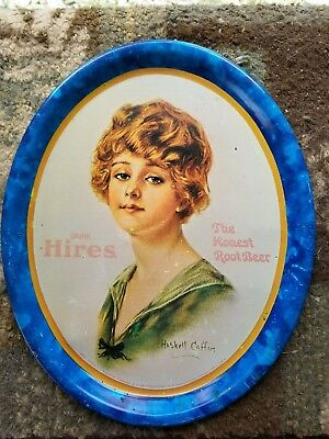 Vintage Hires Root Beer Tin Litho Advertising Serving Tray - Haskill Coffin Art