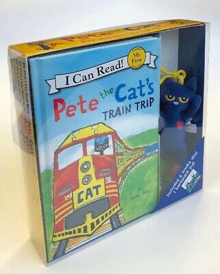 Pete the Cat Hardcover Book Lot 6 Childrens Books and Plush Backpack Pull