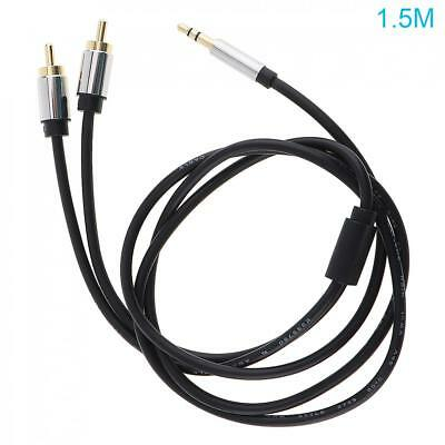 1.5m Pro AUX  Audio Metal 3.5mm Stereo Jack to 2 RCA Phono Plugs Cable Gold