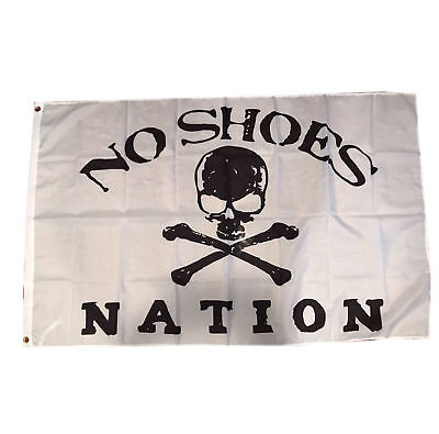 WHITE NO SHOES Nation Flag 3x5 Banner Kenny Chesney Country Music Skull  Cowboy